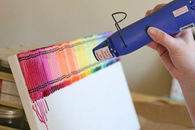 Melted crayon rainbow art
