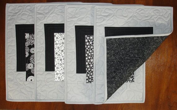 SALE Modern Grey Placemats Set of 4 Black White and Grey