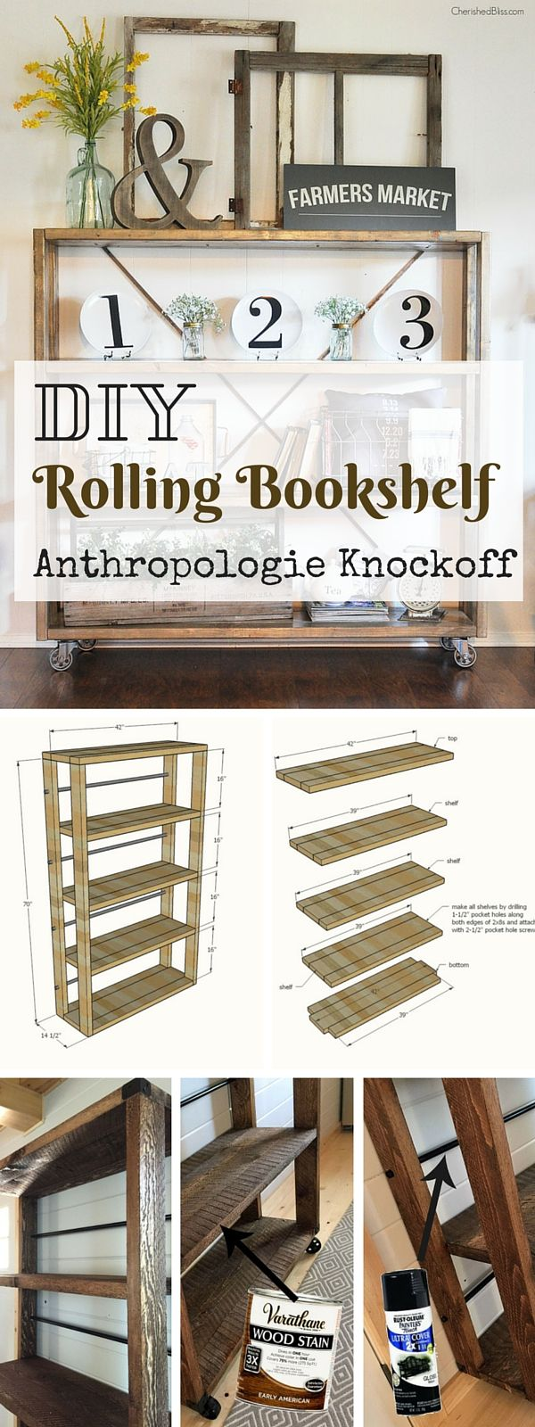 Check out the tutorial: #DIY #Anthropologie Rolling Bookshelf Knockoff