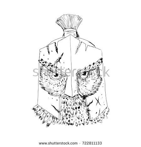 Drawing sketch style illustration of a Great Horned Owl wearing Spartan cracked battle-worn Helmet viewed from front done in black and white.  #Spartan #sketch #illustration