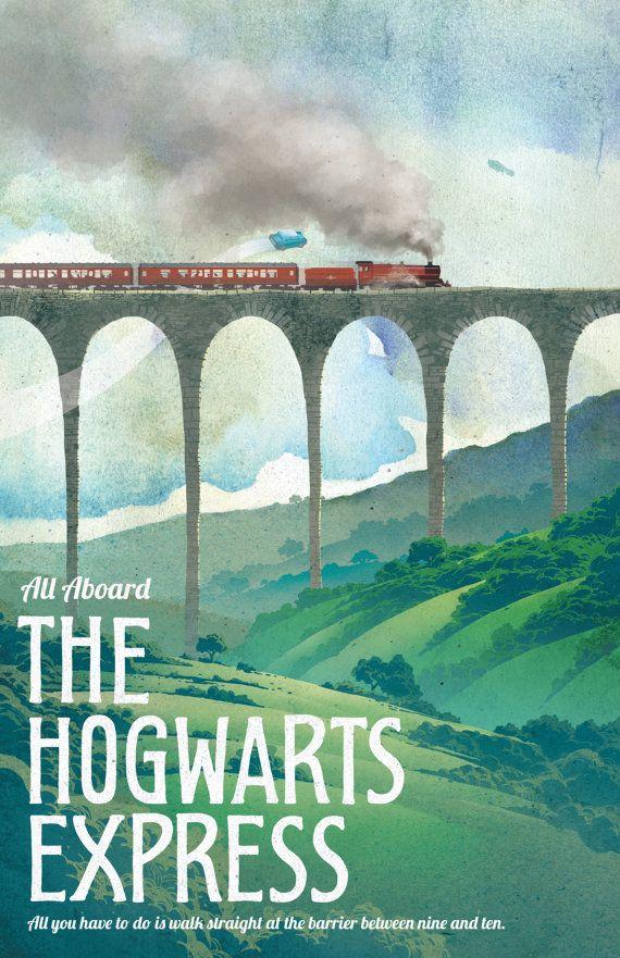 Harry Potter Poster Poudlard Express Travel par TheGreenDragonInn Il nous a fait voyager
