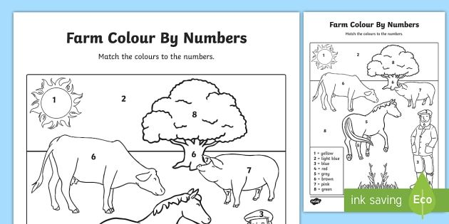 Farm Number Colouring Sheet Color By Numbers Color Activities Childrens Learning