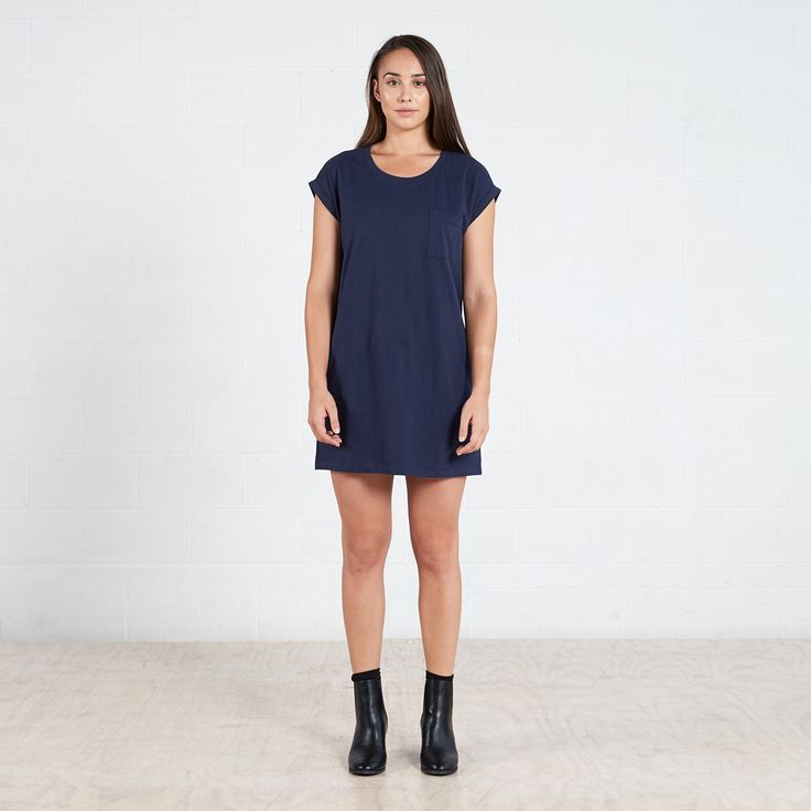 Rolled Sleeve T-Shirt Dress Navy  $60.00 AUD  #dorsu #capsule #basics #ethical #ethicalfashion #capsulewardrobe #minimal #quality #fashionbasics