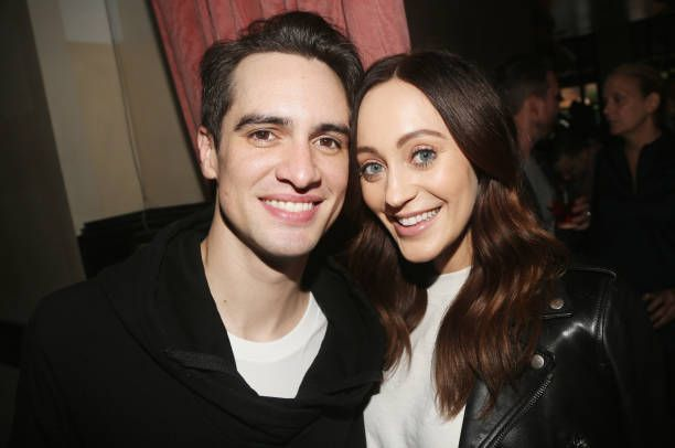 Brendon Urie and wife Sarah Orzechowski pose at a celebration for 'Panic! at The Disco' frontman Brendon Urie's Opening Night in 'Kinky Boots' at 44 1/2 Restaurant on June 4, 2017 in New York City.