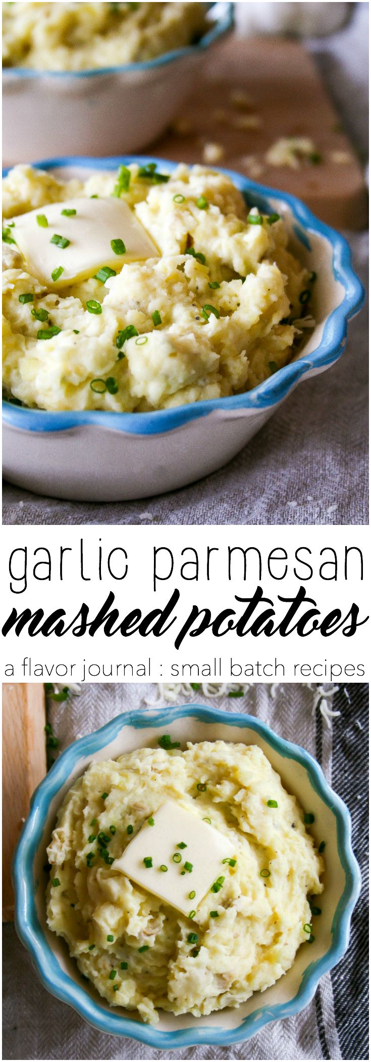 creamy mashed potatoes loaded with garlic and parmesan cheese. easy to make and full of flavor, they're a quick potato side dish for any dinner occasion. | a flavor journal  garlic parmesan mashed potatoes : a small batch recipe for two. http://aflavorjournal.com/garlic-parmesan-mashed-potatoes/
