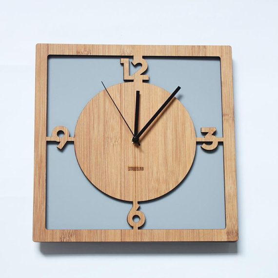 Retro Acrylic x Bamboo Wall Clock   Square Mod by HOMELOO on Etsy, $49.99