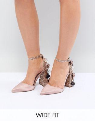 1cd16c6ee8f ASOS DESIGN Passionate Wide Fit Embellished High Heels