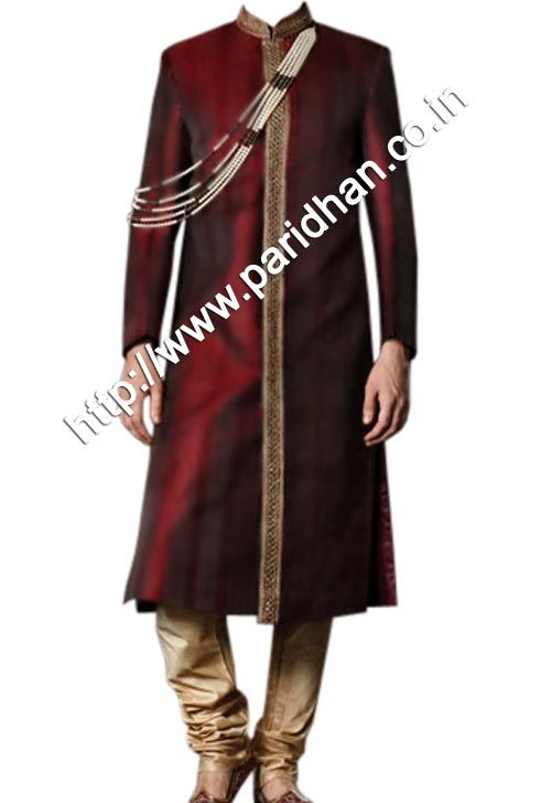 Indian Groom Pure Silk Maroon Wedding Sherwani