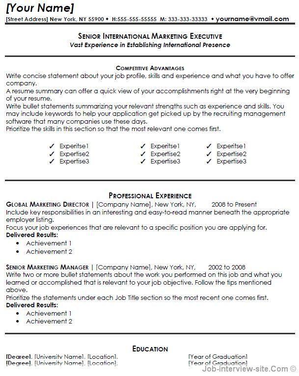 Free Resume Templates Marketing Free Resume Templates Pinterest