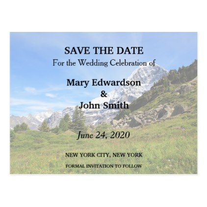 #savethedate #postcards - #Mountain country wedding Switzerland Save the Date Postcard