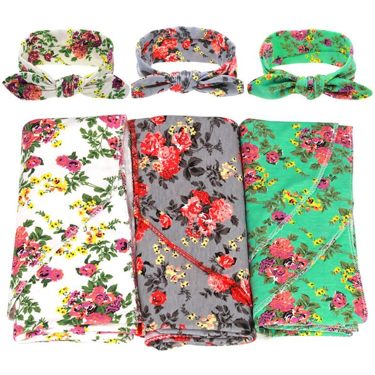 Vintage Aqua Floral Headband & Swaddle Blanket Set Newborn Baby Burp Cloth Sets #Unbranded