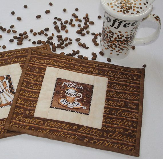 Coffee themed quilted MUG RUGS  Brown and by RedNeedleQuilts, $18.00