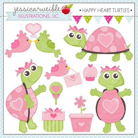 Happy Heart Turtles Cute Digital Clipart for by JWIllustrations