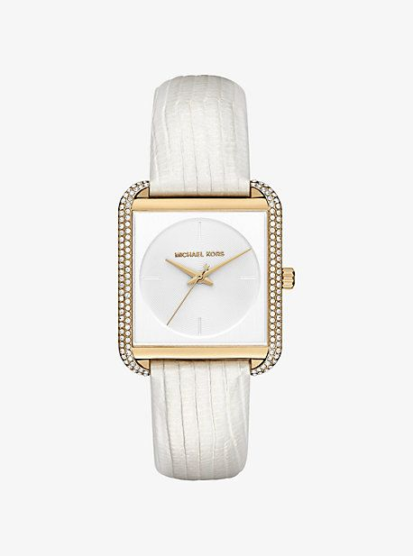 Lake Pave Gold-Tone And Embossed-Leather Watch