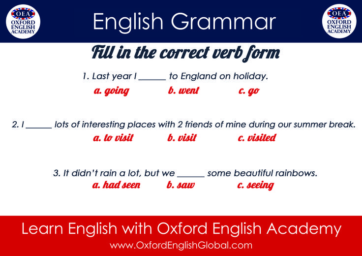 Learn English with Oxford English Academy English Grammar Fill in the correct verb form.Click VISIT for more English learning hints and tips from the Oxford English Academy blog. #oxfordenglishacademy #learnenglish #englishschool #englishcourse #learnenglishcapetown