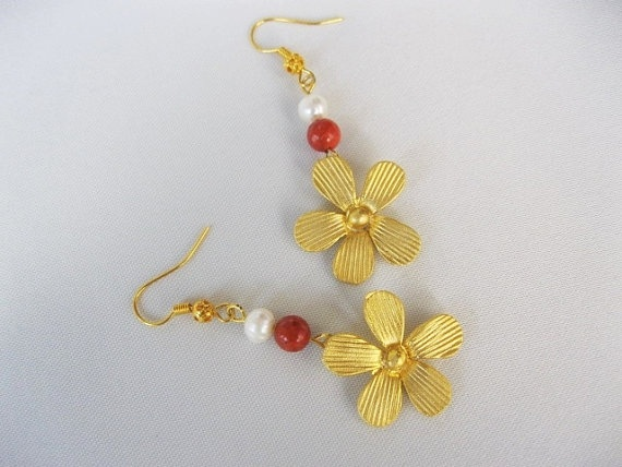 Flower EarringsGold Plated by INDAJEWELLERY on Etsy, $18.90