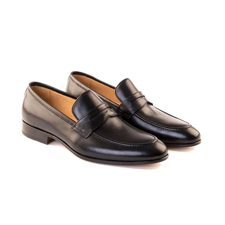 Carlo - Men's Handmade Penny Loafer Shoe In Black Calf Leather - Free Shipping