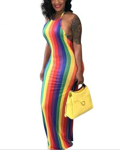 0f906fd54c6 Rainbow striped halter dress for lady summer backless maxi dress ...