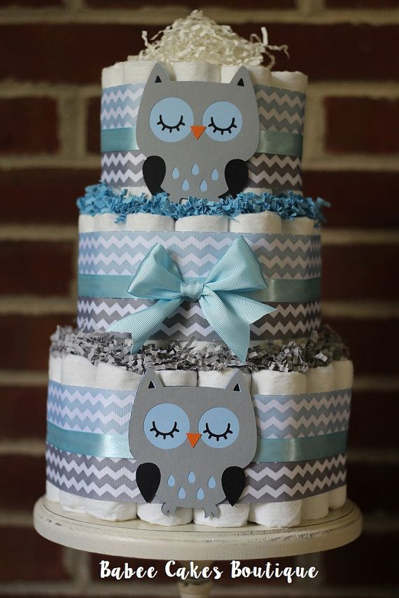 3 Tier Blue and Gray Owl Diaper Cake Blue by BabeeCakesBoutique