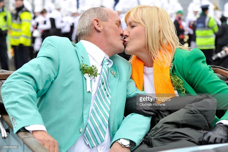 Actro Brendan O'Carroll, the Grand Marshal poses with his wife actress Jennifer Gibney during the annual St Patrick's Day Parade on March 17, 2015 in Dublin, Ireland.