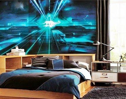 Futuristic City Wall Murals Stickers in Modern Bedroom Decorating Design Ideas