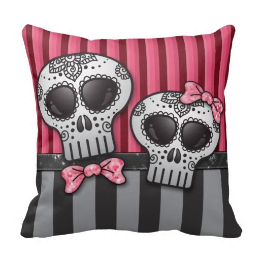Day of The Dead Glitter Sugar Skulls Pirate Stripe