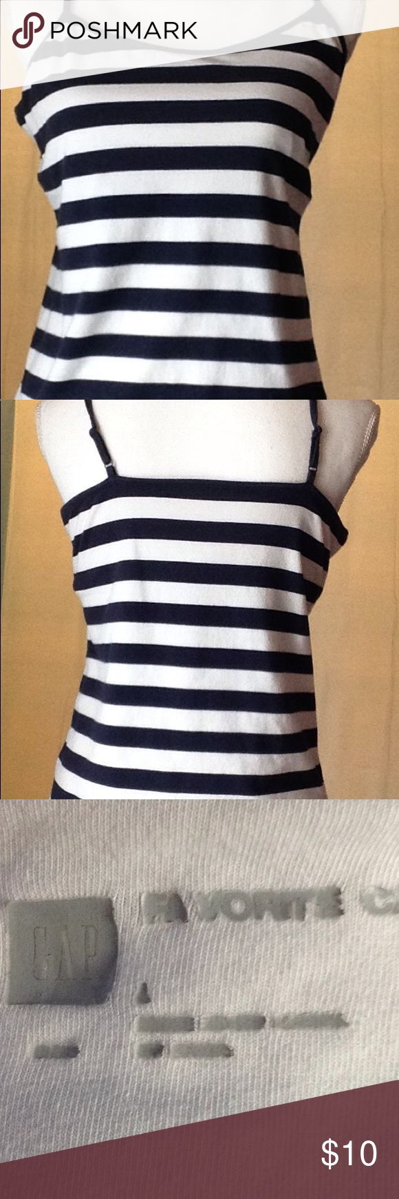 Striped Cami by GAP sz L Navy blue and white striped Cami size L with shelf bra.Machine wash cold tumble dry low GAP Tops Camisoles