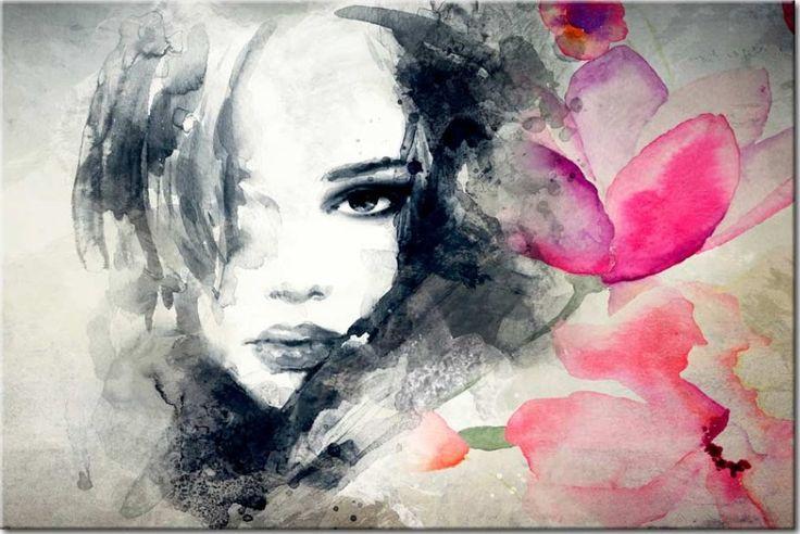 """❂❂❂ Wandbild """"Bittersüßes Geheimnis"""". Motive des Leinwandbildes: Frau, Blumen, schwarz-weiß, Mensch, Silhouette. Diese sinnliche Wanddeko wird sicherlich Ihrem Schlafzimmer einen besonders intimen Charakter verleihen ❂❂❂"""