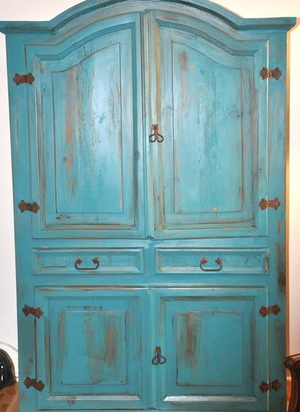 I have this same armoire....now I have a project :)  Painted furniture idea...  LOVE this color! Perfect!