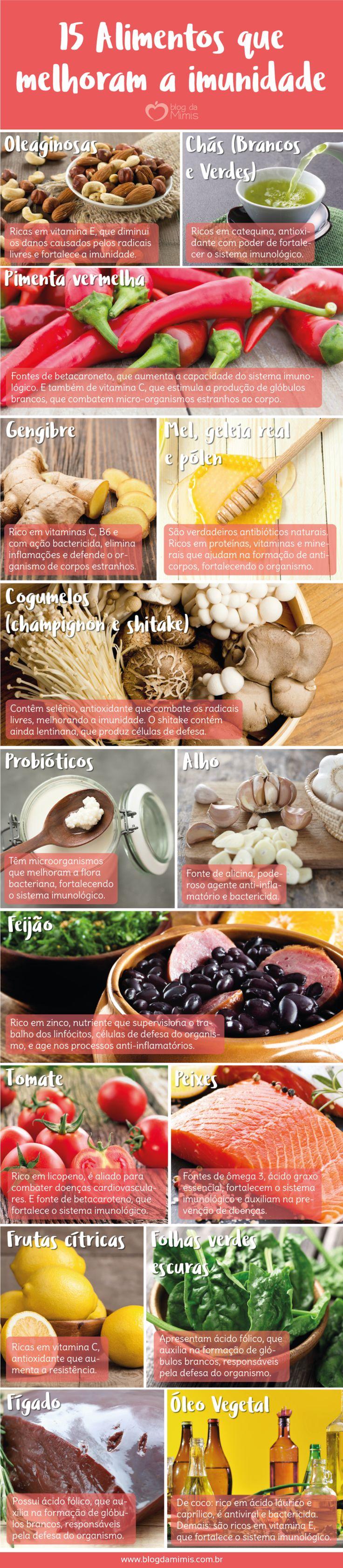 Super disposição: 15 alimentos que melhoram a imunidade - Blog da Mimis - catálogo de alimentos que turbinam a imunidade! São 15 sugestões para deixar a dieta mais gostosa e o corpo mais forte! #cardápio #imunidade #fortalecedores #alimentos #dieta #emagrecer
