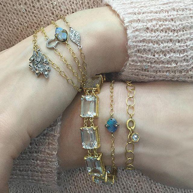 Strongest wrist game? Cathy Waterman Jewelry  #stackemup #stackingbracelets #diamonds #opals  #chaingang #cathywaterman