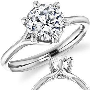 Designer Style 6 Prong Trellis Moissanite Solitaire Ring