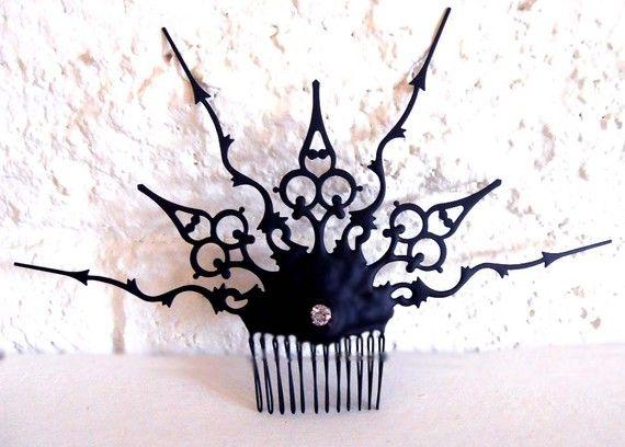 Steampunk Victorian Hair Comb black Gothic hair Ornament- In the London Fog