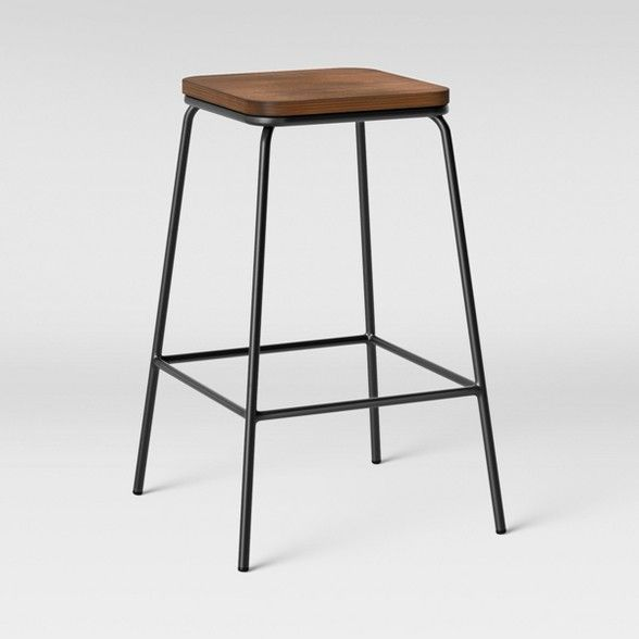 Set Of 2 Rhodes Metal Wood Seat Square Counter Stool Project