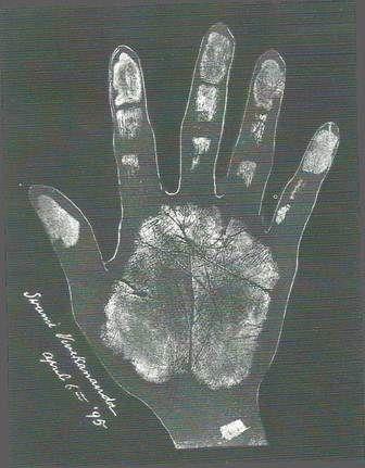A photo of Swami Vivekananda's hand.