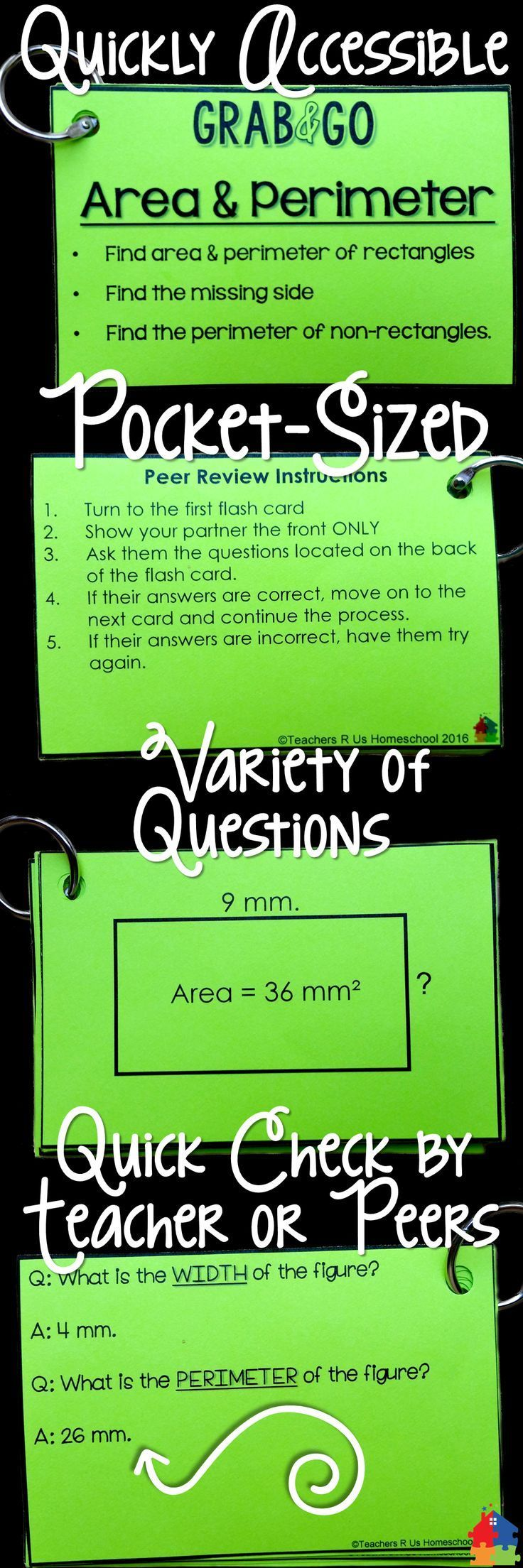 These Area & Perimeter Flash Cards Are Incredibly Useful For Math Test  Prep! Place Them