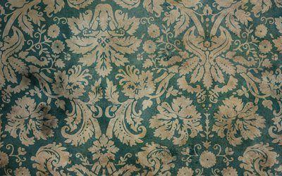 текстуры, винтаж, обои, пятна, орнамент, завитки, листья, цветы, стена, vintage wallpaper
