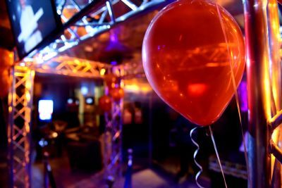 Balloons decorate the enterance to the 25th Hour nightclub at the Woodlands Inn for its re-opening on Friday night. 11/6/15. Sean McKeag | Times Leader