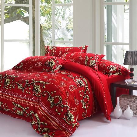 luxury gold and red retro chic floral and paisley pop print classic wedding egyptian cotton full size bedding sets