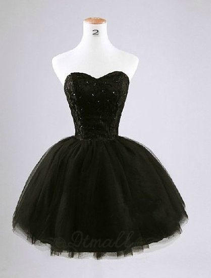 Black Short Prom Dress Sweetheart Collar Ball Gown Backless Evening Dress Party…