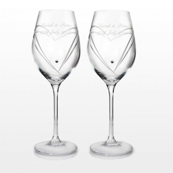 Crystal Heart Wine Glasses by Wedding Gift Company £44.99 - The Wedding Gift Company