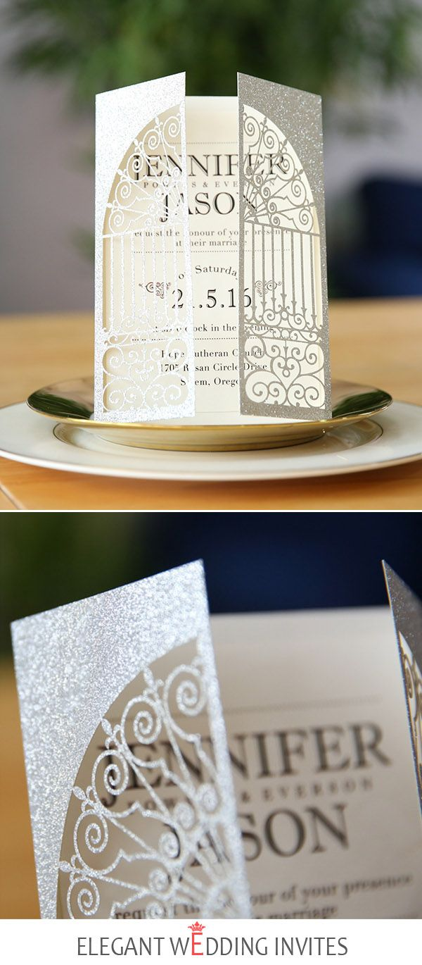 how much do invitations for wedding cost%0A silver glitter classic gate folded laser cut invitations