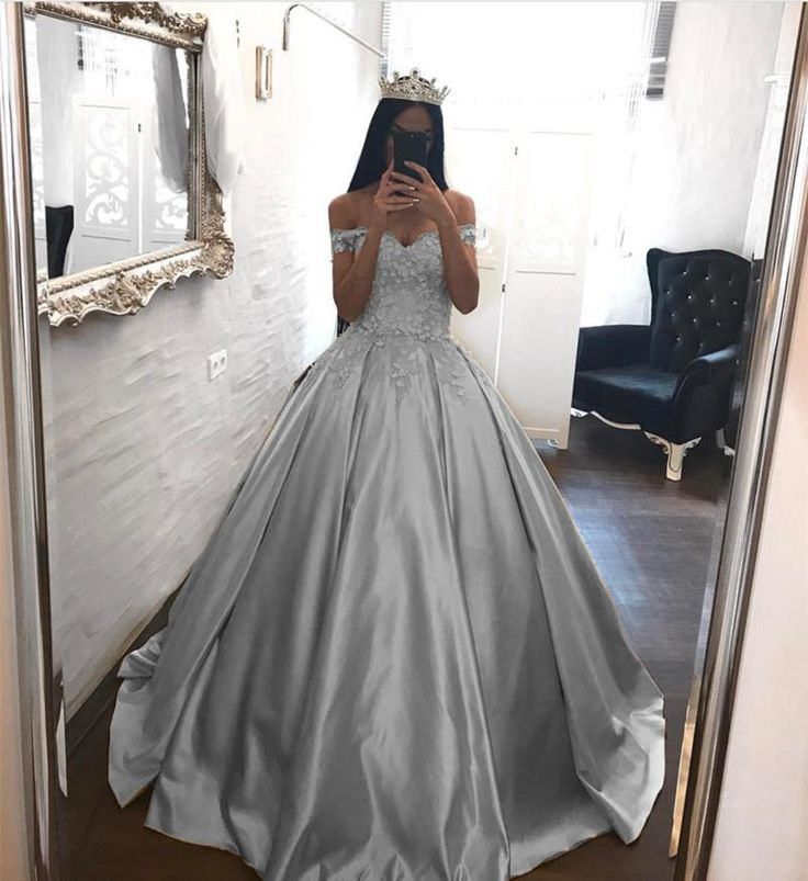 Elegant Lace Off The Shoulder Ball Gowns Satin Wedding