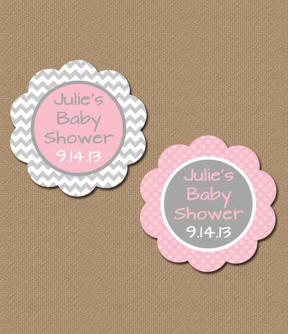Personalized Baby Shower Party Favor Tags, Printable Pink
