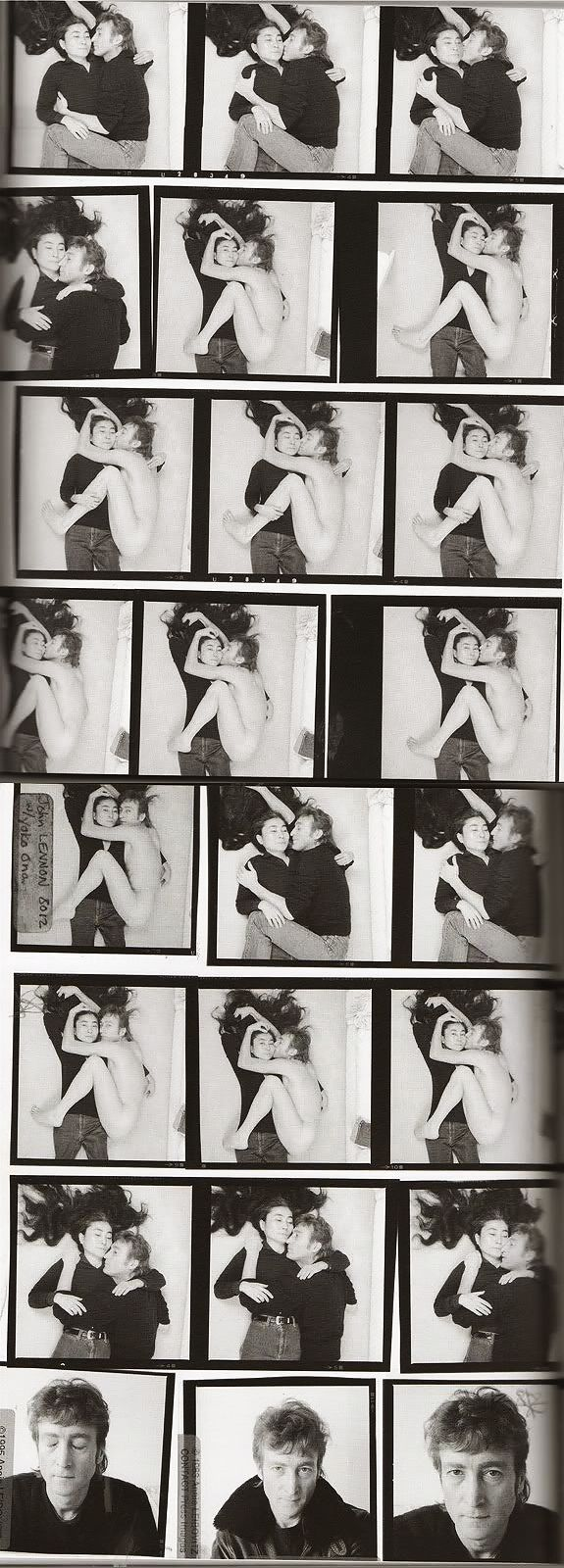 Contact sheet for John Lennon and Yoko Ono's photo-shoot, photographed by Annie Leibovitz. 5 hours later Lennon was shot. December 8th 1980
