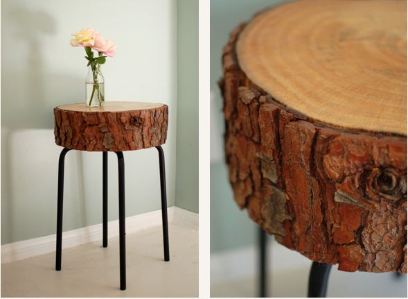 DIY Stump Table via Seakettle  This DIY table comes to you via Seakettle and uses the IKEA Marius Stool ($5.99) painted a matte black.  The tree stump was acquired from the parents' log pile. A five-inch cross-section was cut, sanded, and sealed then screwed onto the legs of the Marius stool resulting in a rustic table that is clean and modern.