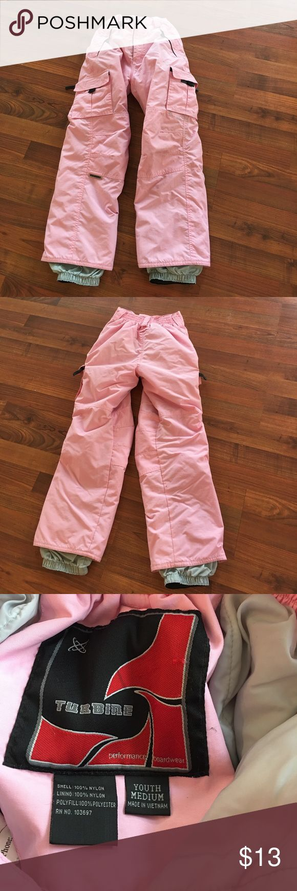 Turbine girls pink ski snowboard pants medium M Great pair of ski or snowboard pants for girls. Size medium (fits about girls 10-12). Made by Turbine. #4/27/17. turbine Bottoms