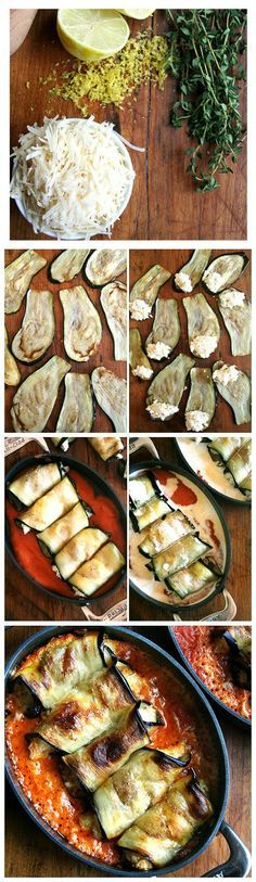 Eggplant Involtini -1 eggplant kosher salt olive oil for frying (I used canola oil) tomato sauce, this is the one I adore, but feel free to use your favorite store-bought heavy cream freshly grated Asiago cheese or Parmigiano Reggiano (I used parm) Stuffing bread crumbs, about 1/2 cup, made from about 3 slices day-old bread* 1 cup whole milk ricotta, homemade is easy and delicious grated zest of 1 lemon juice of 1/2 lemon 1 tsp. fresh thyme leaves, minced 1/4 tsp. kosher salt