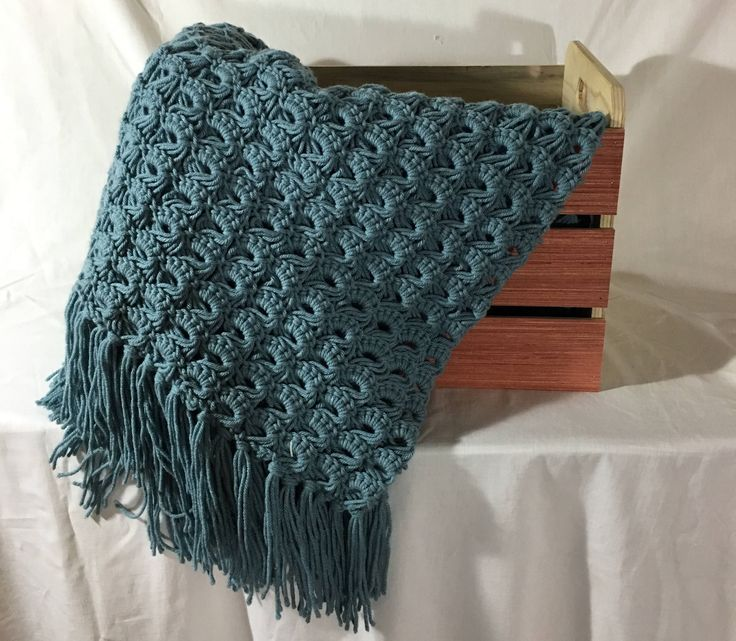 A personal favorite from my Etsy shop https://www.etsy.com/ca/listing/538980015/steel-blue-broom-stitch-afgan