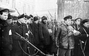 Armed workers and soldiers escorting captured policemen. Petrograd, 1917. The February Revolution of 1917 was the first of two revolutions in Russia in 1917. It was centered on Petrograd. The revolution was confined to the capital and its vicinity, and lasted less than a week.